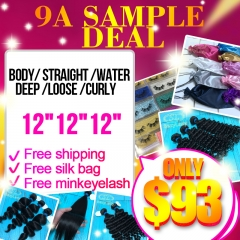 "9A sample deal (3pcs 12"") free shipping"